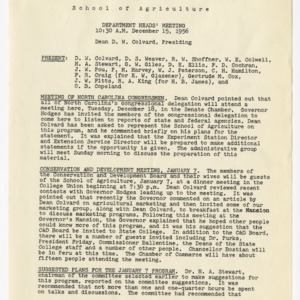 School of Agriculture Department Heads Meeting records, 1954-1956