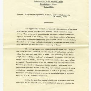 Report on Programa Cooperativo de Maiz by P. H. Harvey, circa 1962-1964
