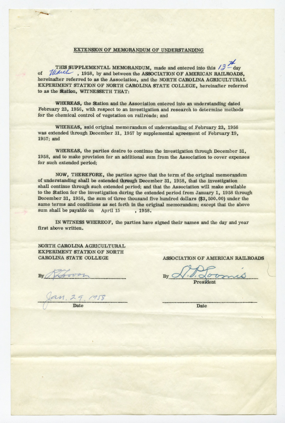 Agreement between Association of American Railroads and the Agricultural Experiment Station, 1957-1958