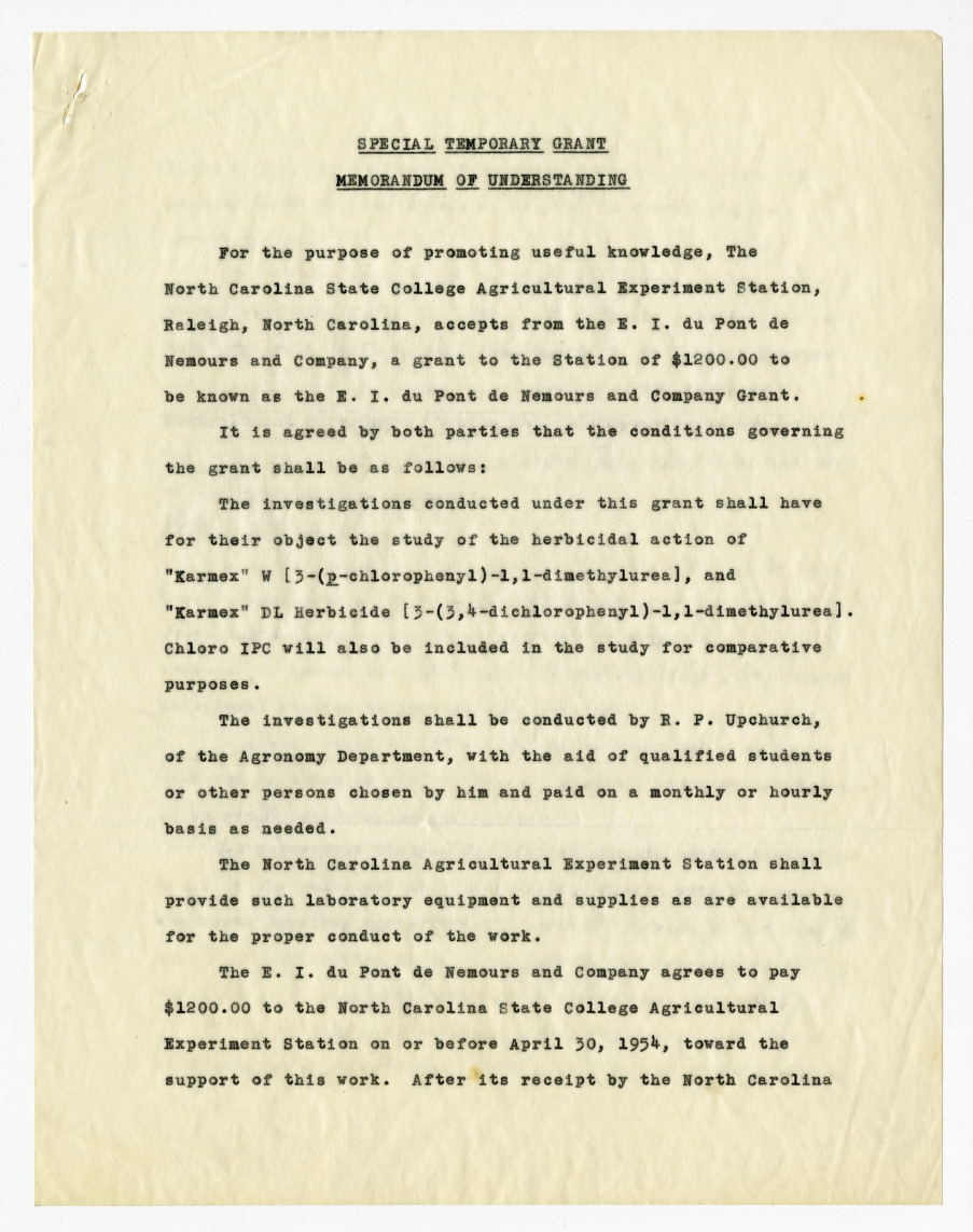 Memorandum of understanding between du Pont and the Agricultural Experiment Station, 1954