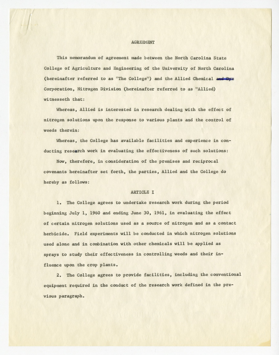 Memorandum of agreement between North Carolina State College of Agriculture and Engineering and Allied Chemical Corporation, 1957-1960