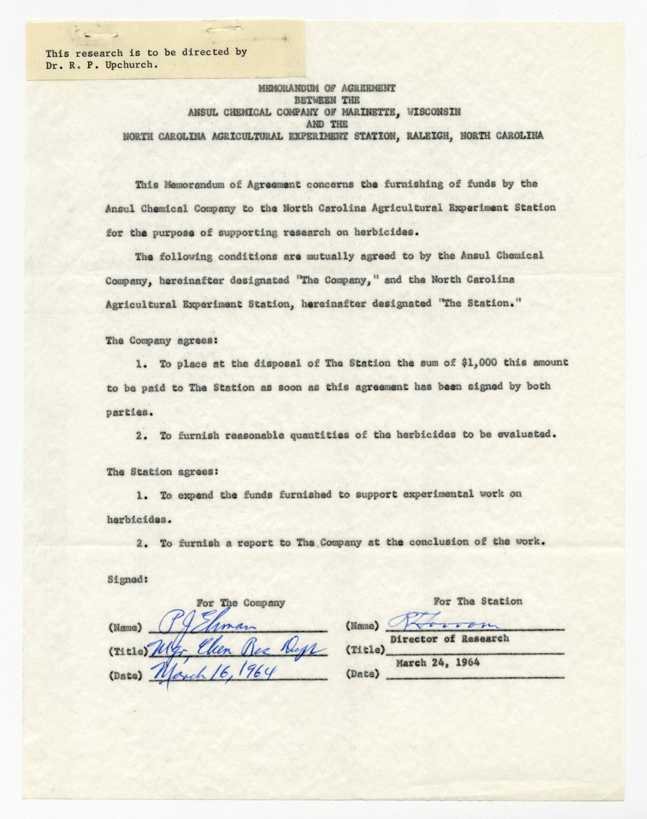 Memorandum of agreement between the Ansul Chemical Company and the North Carolina Agricultural Experiment Station, 1964
