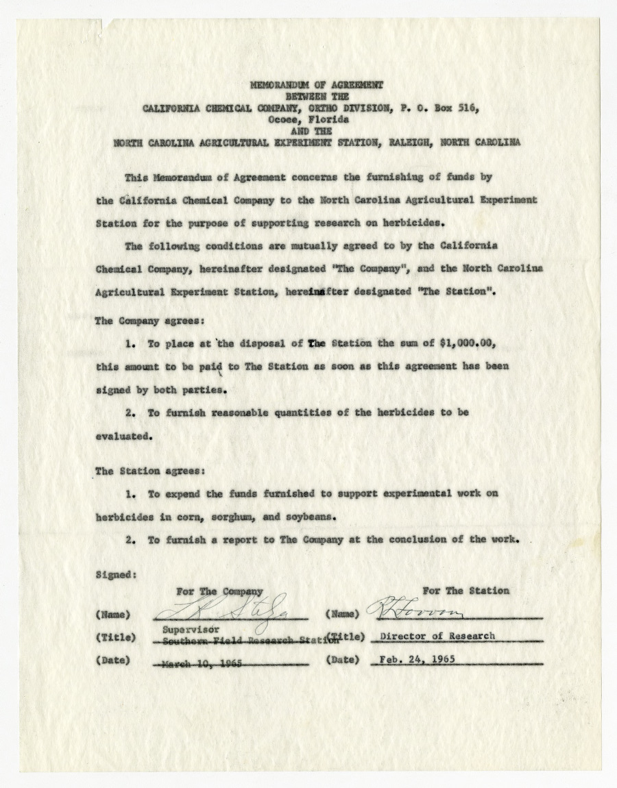 Memorandums of agreement between the California Chemical Company and the North Carolina Agricultural Experiment Station, 1964-1965