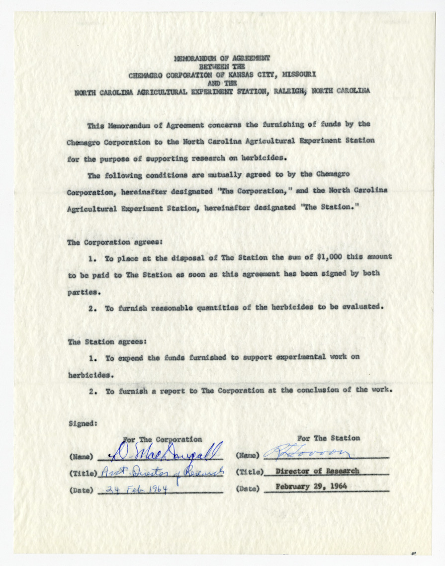 Memorandum of agreement between the Chemagro Corporation and the North Carolina Agricultural Experiment Station, 1964