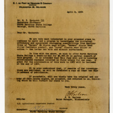Agreement between E. I. du Pont de Nemours and Company and the North Carolina Agricultural Experiment Station, 1962-1965