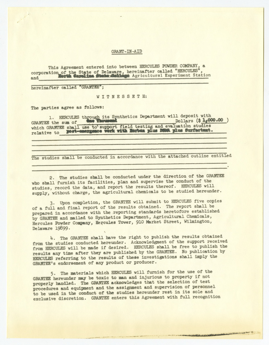 Agreement between Hercules Powder Company and North Carolina Agricultural Experiment Station, 1962-1965