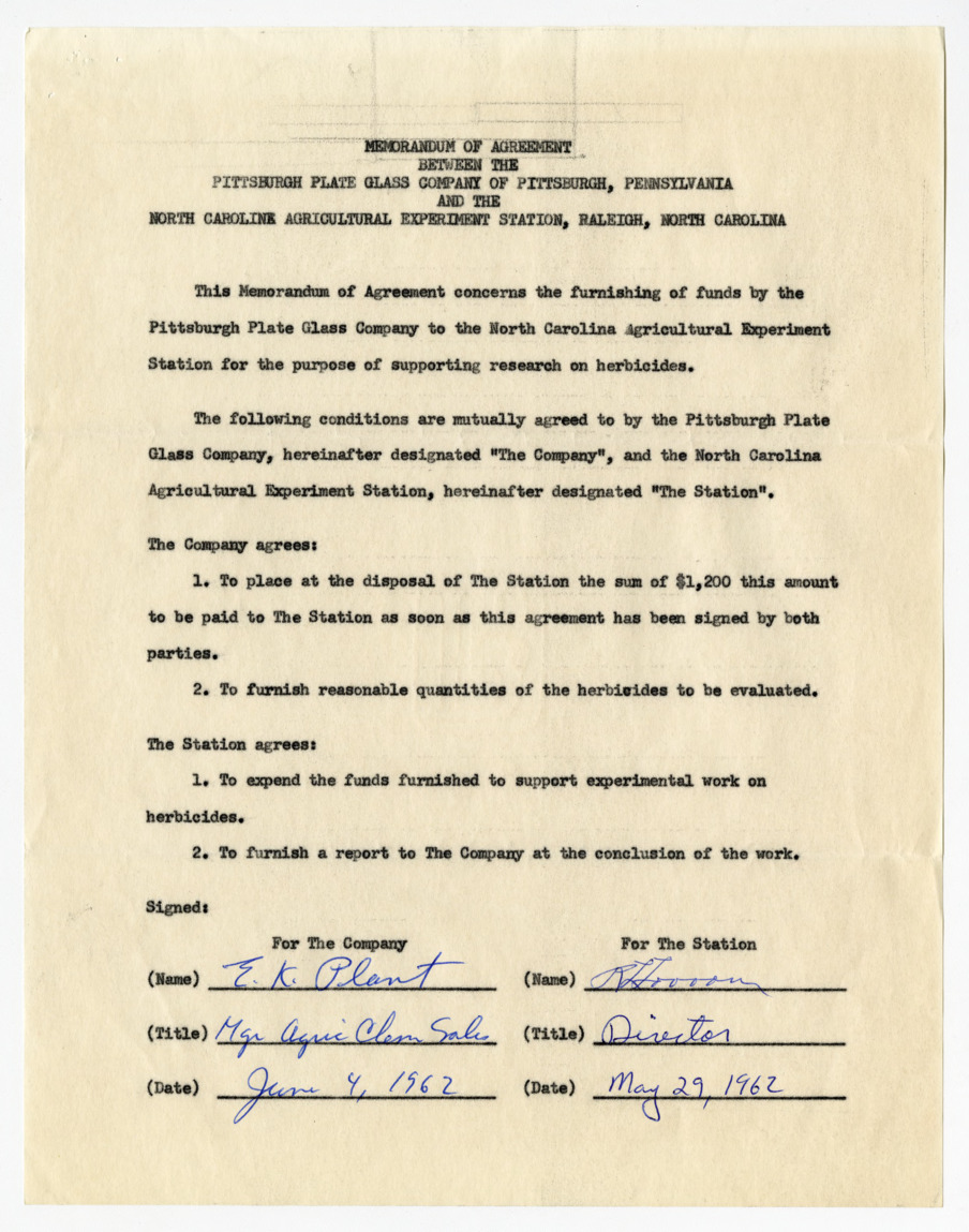 Memorandums of Agreement between the Pittsburgh Plate Class Company and the North Carolina Agricultural Experiment Station, 1962-1963