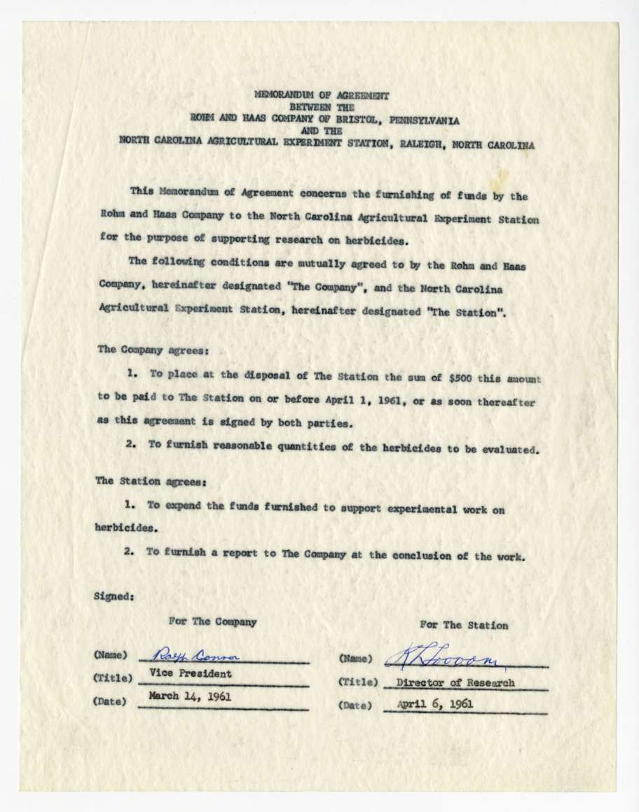 Memorandum of agreement between the Rohm and Haas Company and the North Carolina Agriculture Experiment Station, 1961-1962
