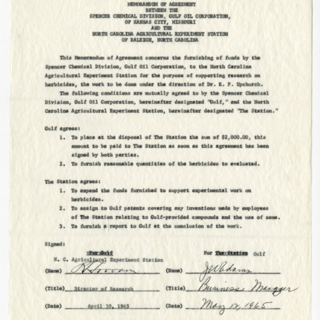 Memorandum of agreement between the Gulf Oil Corporation's Spencer Chemical Division and the North Carolina Agriculture Experiment Station, 1963-1965
