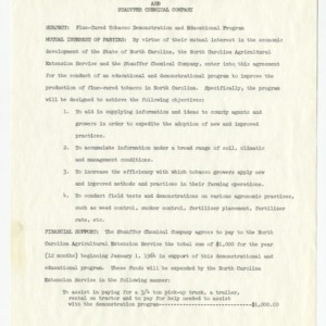 Memorandum of agreement between the North Carolina Agricultural Extension Service and Stauffer Chemical Company, 1961-1964