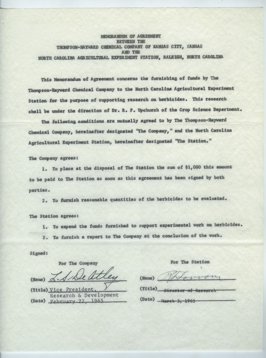 Memorandum of agreement between the Thompson-Hayward Chemical Company and the North Carolina Agriculture Experiment Station, 1964-1965
