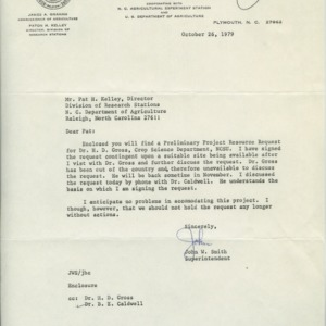 Communications between N. C. State's School of Agriculture and the North Carolina Department of Agriculture, 1974-1979