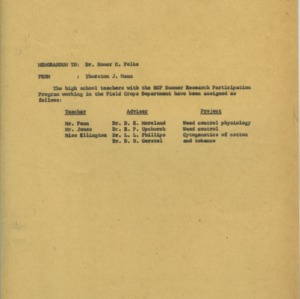 Research for Teacher Training Program proposal and records, 1959-1962