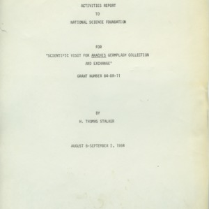National Science Foundation and Rockefeller Foundation grants, 1964-1984