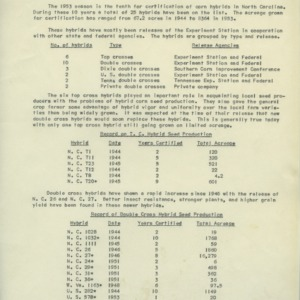 Certification of Hybrid Corn Seed and Station Released Corn Hybrids, circa 1953