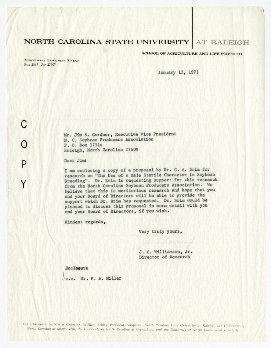 North Carolina Soybean Producers Association research proposals, 1968-1971