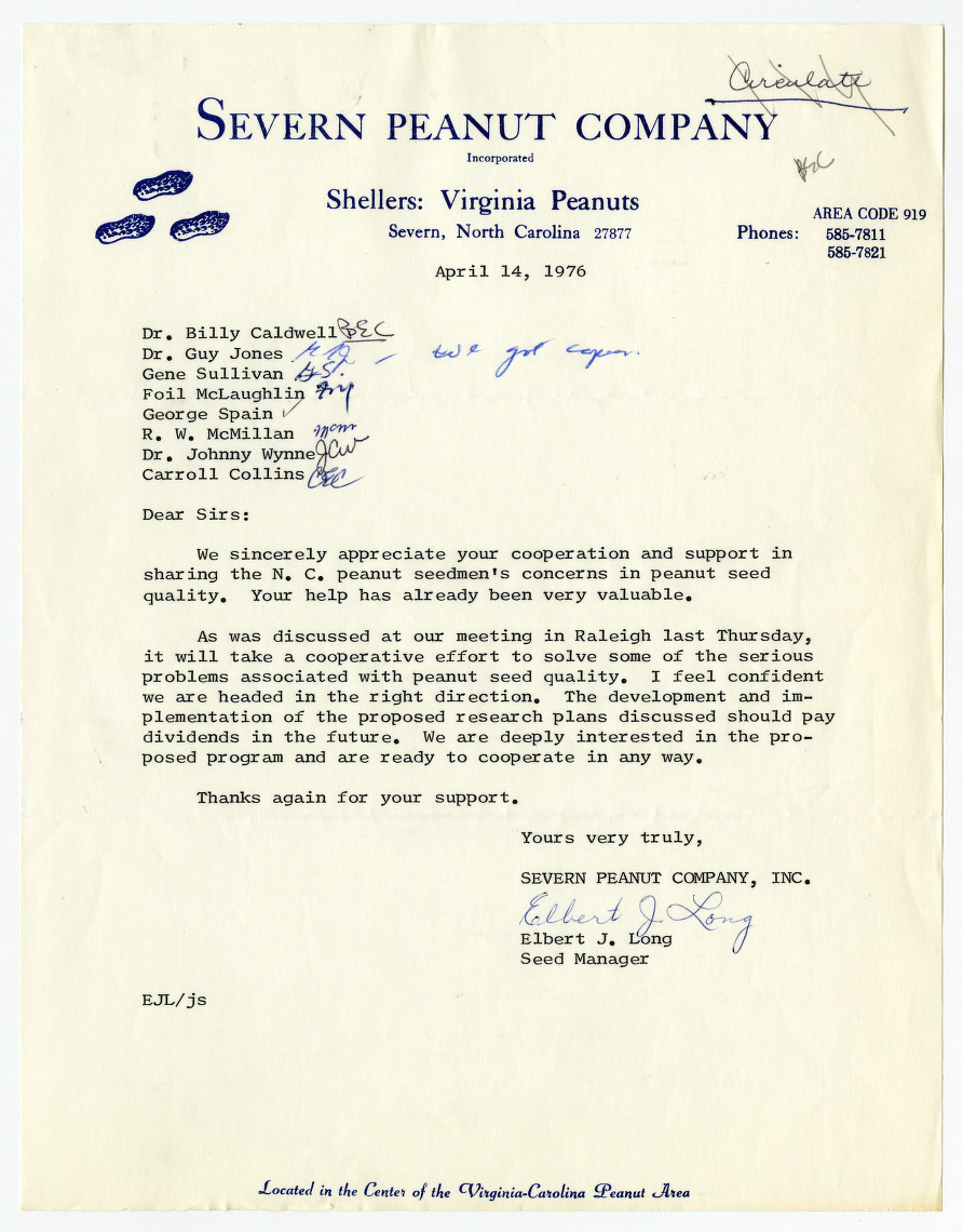 Peanut Variety and Quality Evaluation Advisory Committee records, 1970-1976