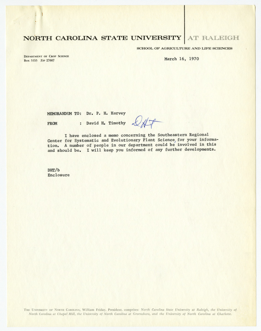 Southeastern Regional Center for Systematic and Evolutionary Plant Science memorandum, 1970