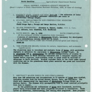 Agricultural research grant project reports, 1952-1955