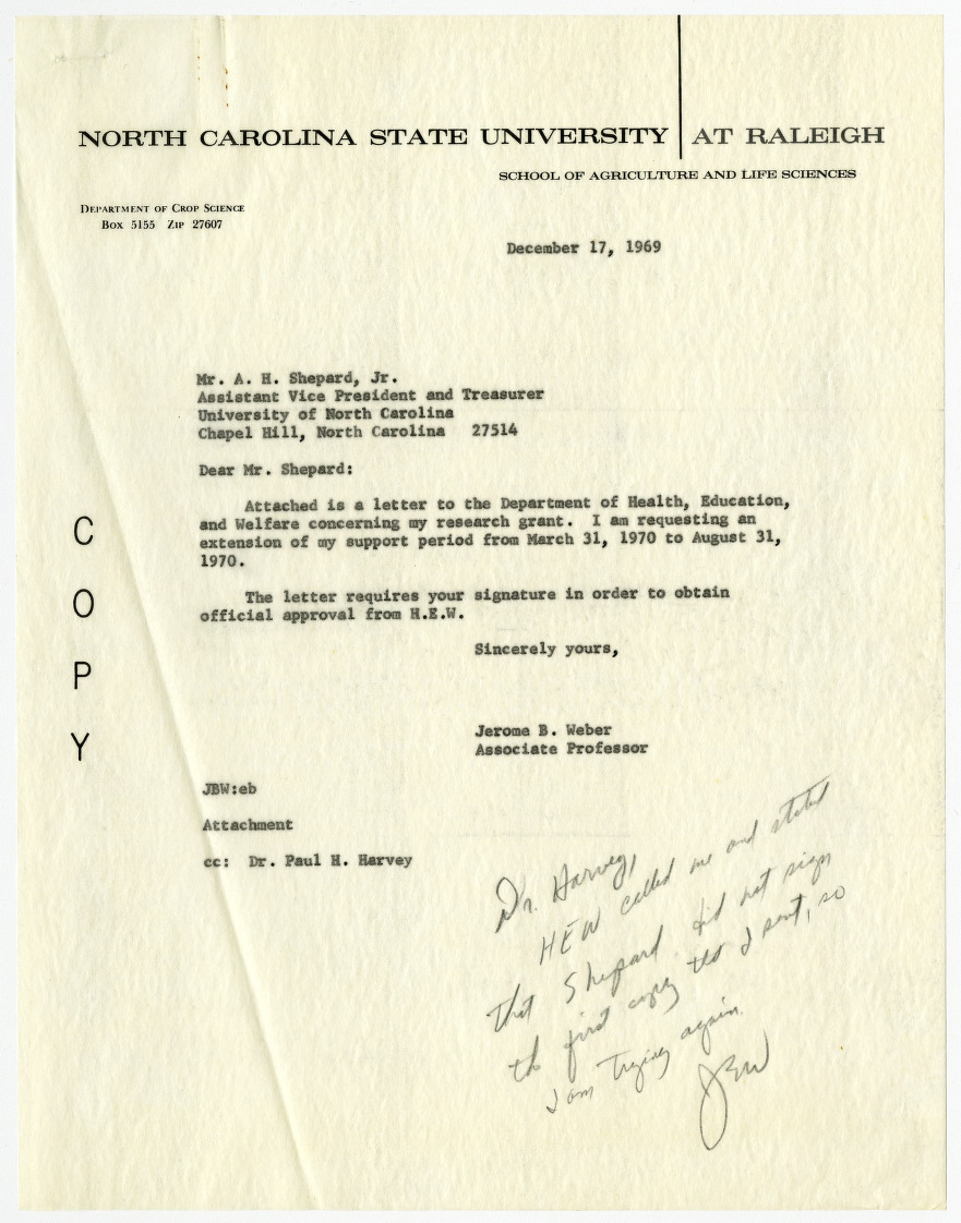 Jerome B. Weber research grant records, 1966-1969