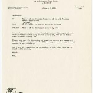All-Practice Demonstration Group Steering Committee Meeting minutes, 1965