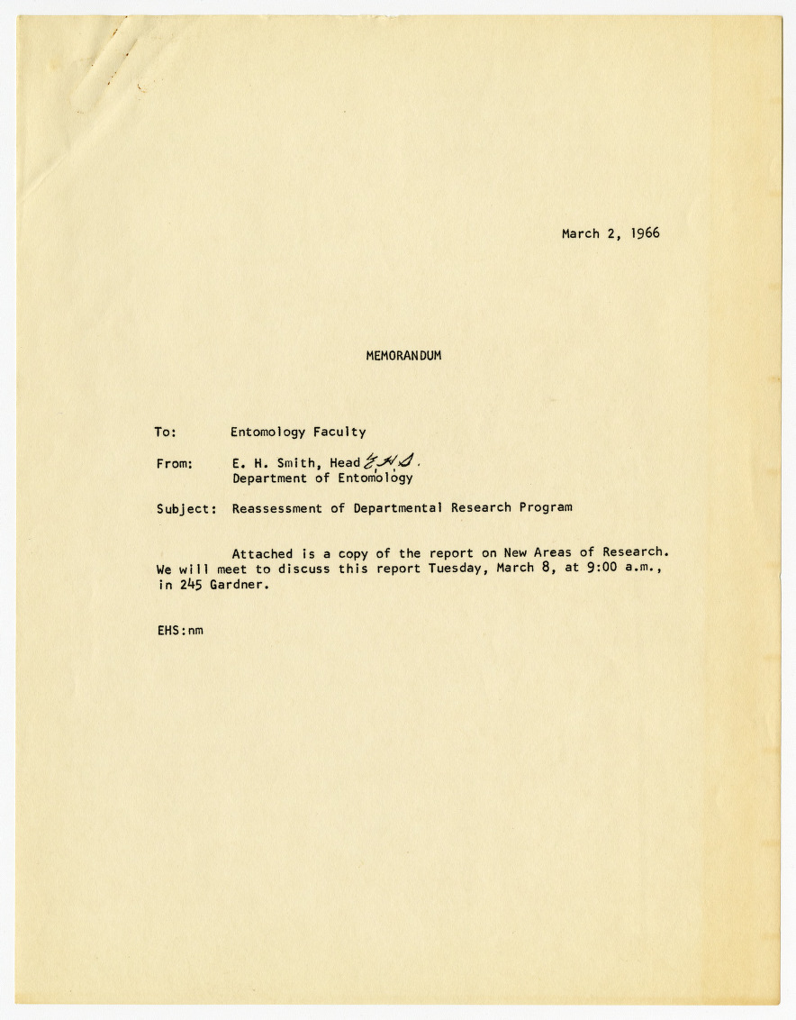 Report on Reassessment of Department of Entomology's Research Program, 1966