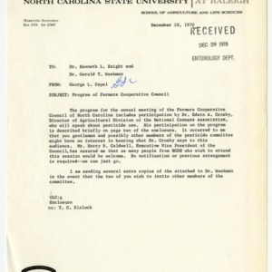 Entomology Department correspondence and records regarding pesticides, 1970-1971