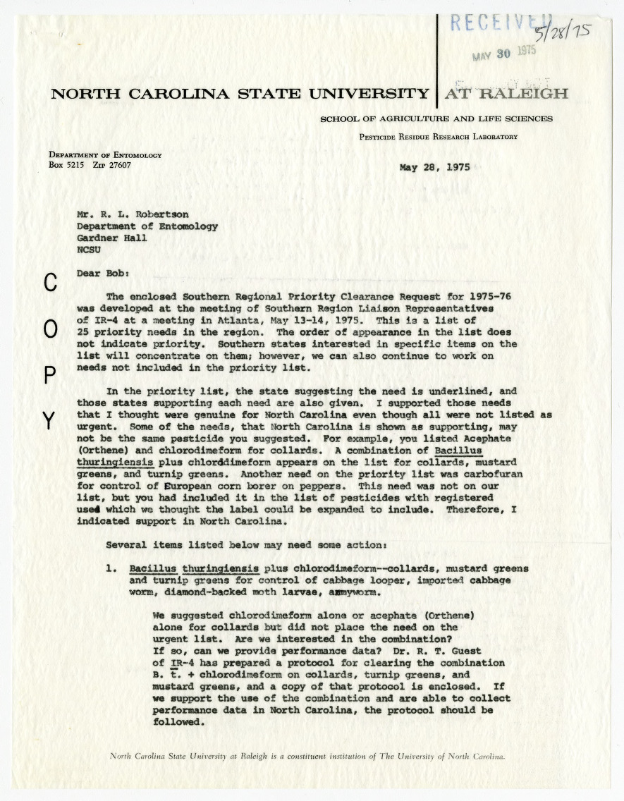 Entomology Department correspondence related to the clearance on pesticide use, 1975