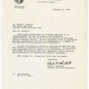 Frank E. Guthrie correspondence and records, 1972-1988