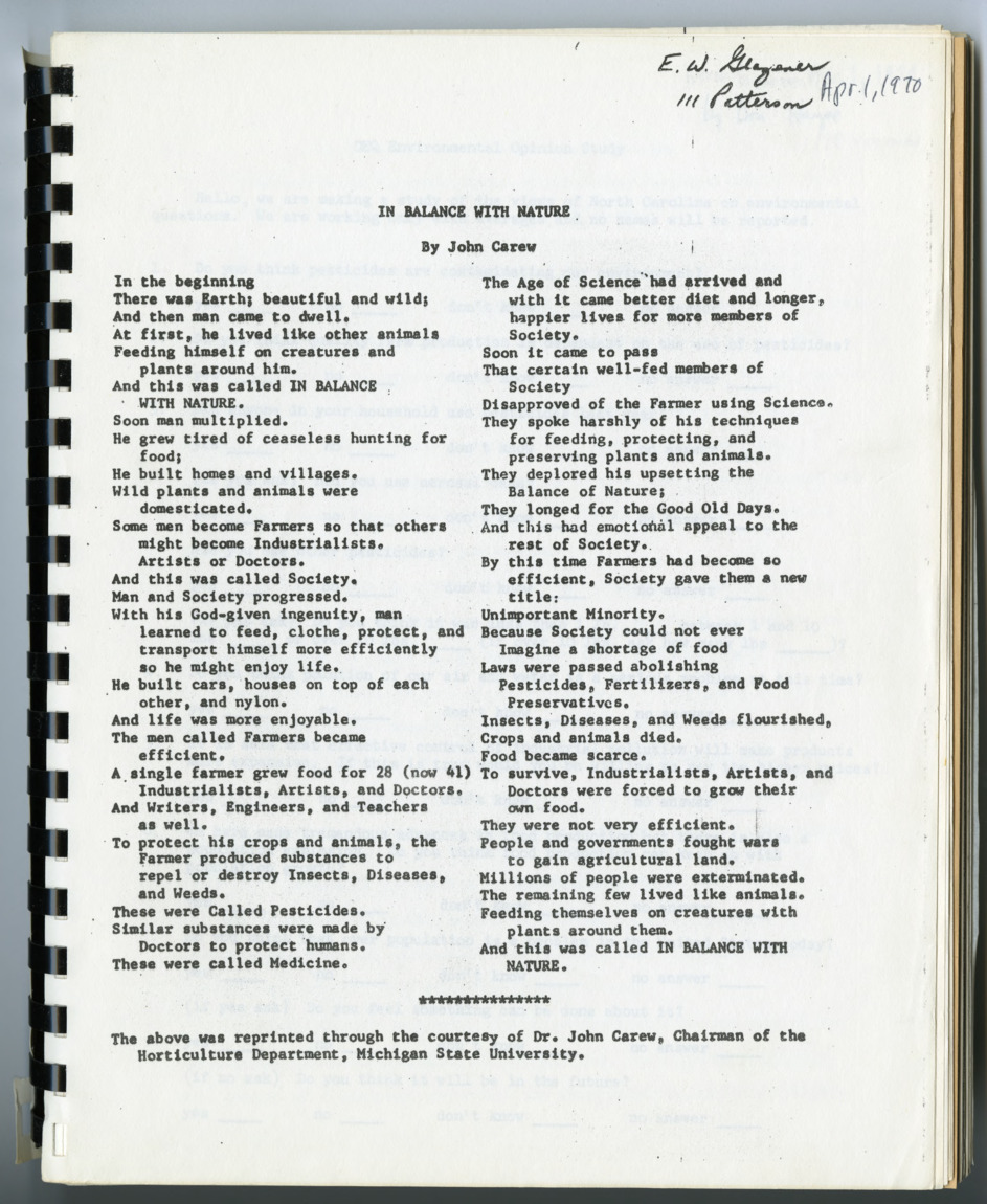 Kenneth L. Knight notebook on pesticides, 1969-1970