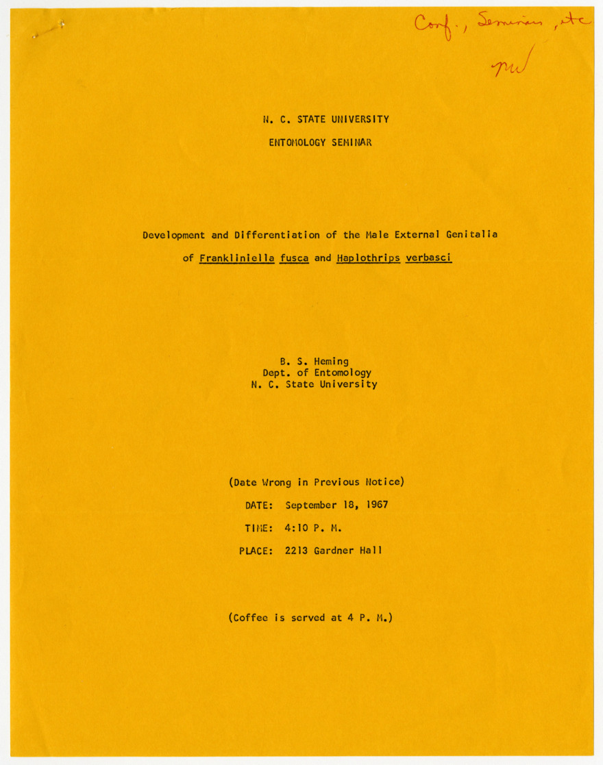 Fliers for Entomology seminars, 1967-1968