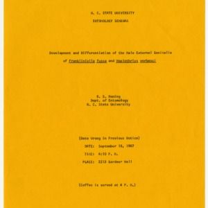 Fliers for Entomology seminars, 1967-1968