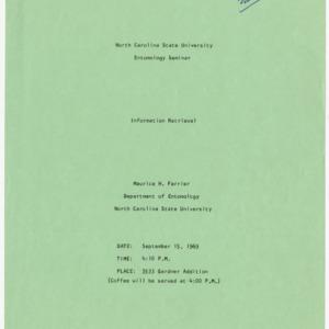 Fliers for Entomology seminars, 1969