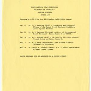 Fliers for Entomology seminars, 1977