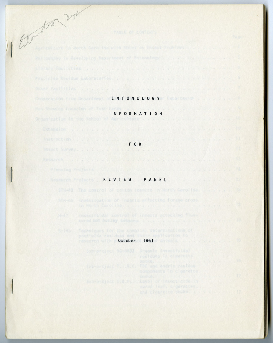 Entomology Information for Review Panel, 1961