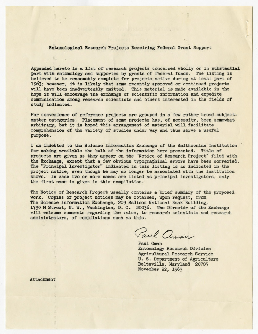 Entomological Research Projects Receiving Federal Grant Support list, 1963