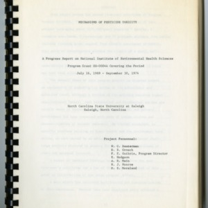 Mechanisms of Pesticide Toxicity : A Progress Report on National Institute of Environmental Health Sciences Program Grant E8-00044, July 16, 1969-September 30, 1974