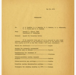Records related to parathion study, 1970-1971