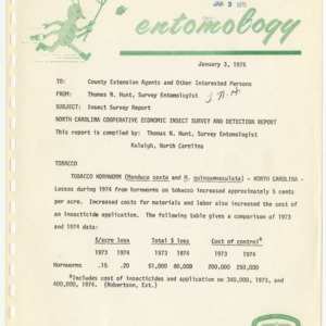 Agricultural Extension Service Insect Survey Reports, 1974-1975
