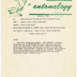 Agricultural Extension Service Insect Survey Reports, 1978