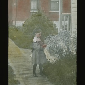 Child picking flowers, colorized, circa 1910