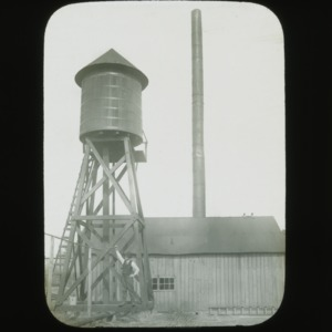 Engine house and water tank on Pender Test Farm, circa 1900