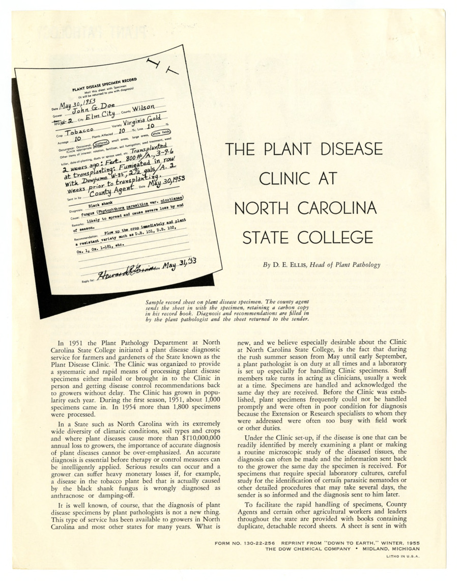 Plant Disease Clinic, Correspondence :: Departmental Information :: General Records