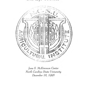 North Carolina Agricultural Institute Fall 1996 Commencement, December 18, 1996