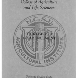 North Carolina Agricultural Institute Thirty-Fifth Commencement, May 10, 1996