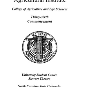 North Carolina Agricultural Institute Thirty-Sixth Commencement, May 9, 1997