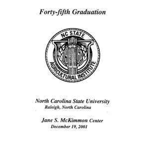North Carolina Agricultural Institute Forty-Fifth Graduation, December 9, 2001