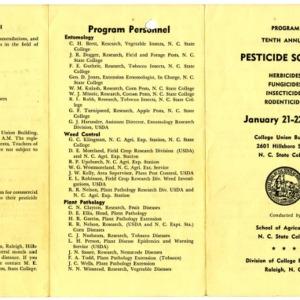 Pesticide School records, 1958