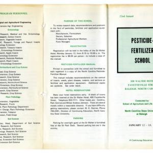 Pesticide-Fertilizer School annual event, 1969-1970