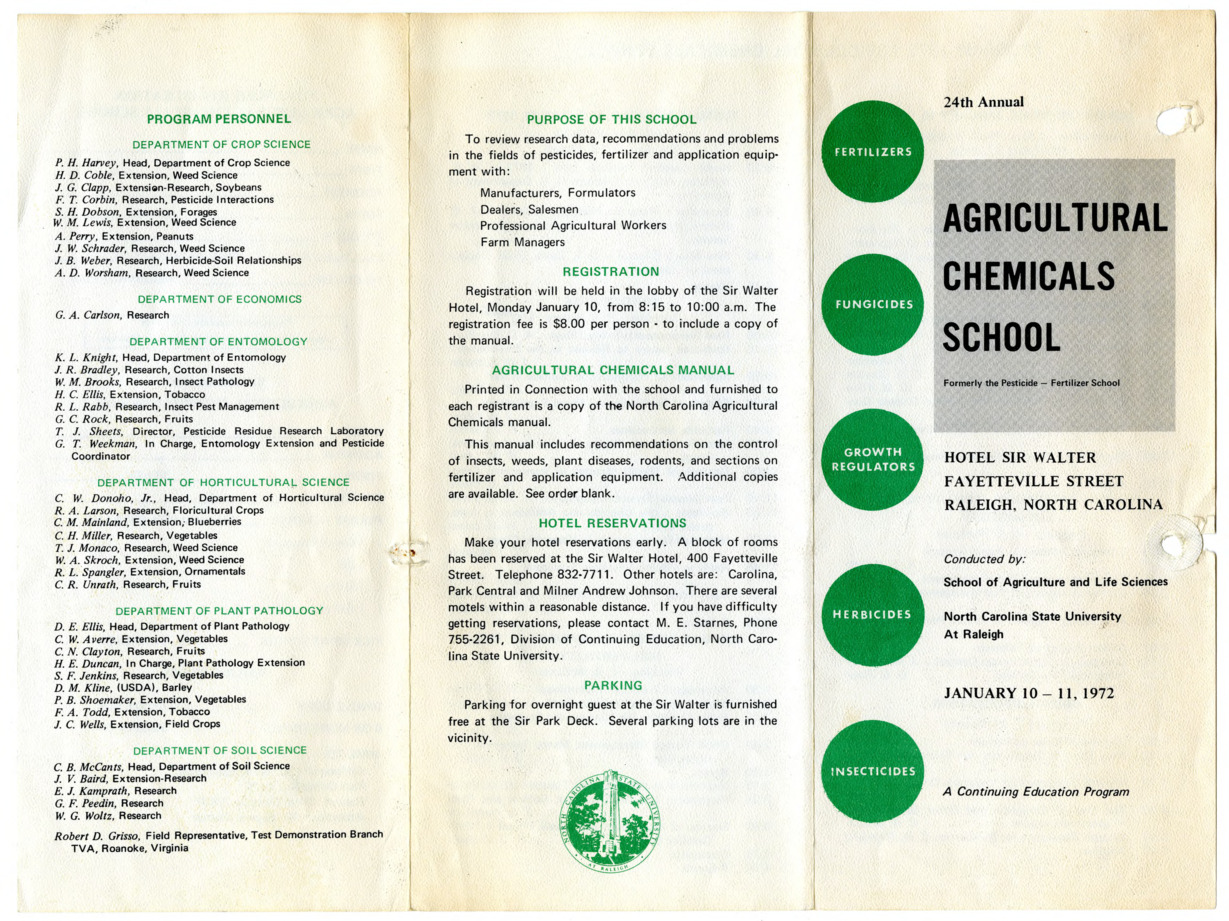 Agricultural Chemicals School annual event, 1971-1972